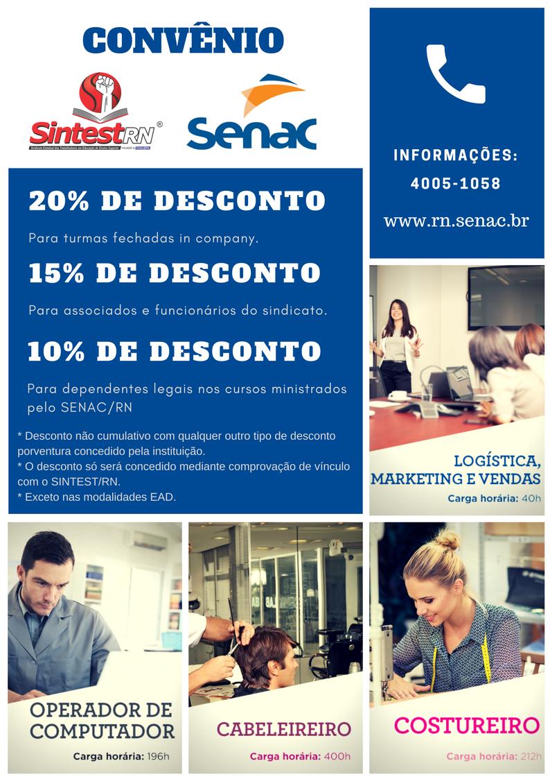Conheça as vantagens do convênio entre SINTEST/RN e SENAC