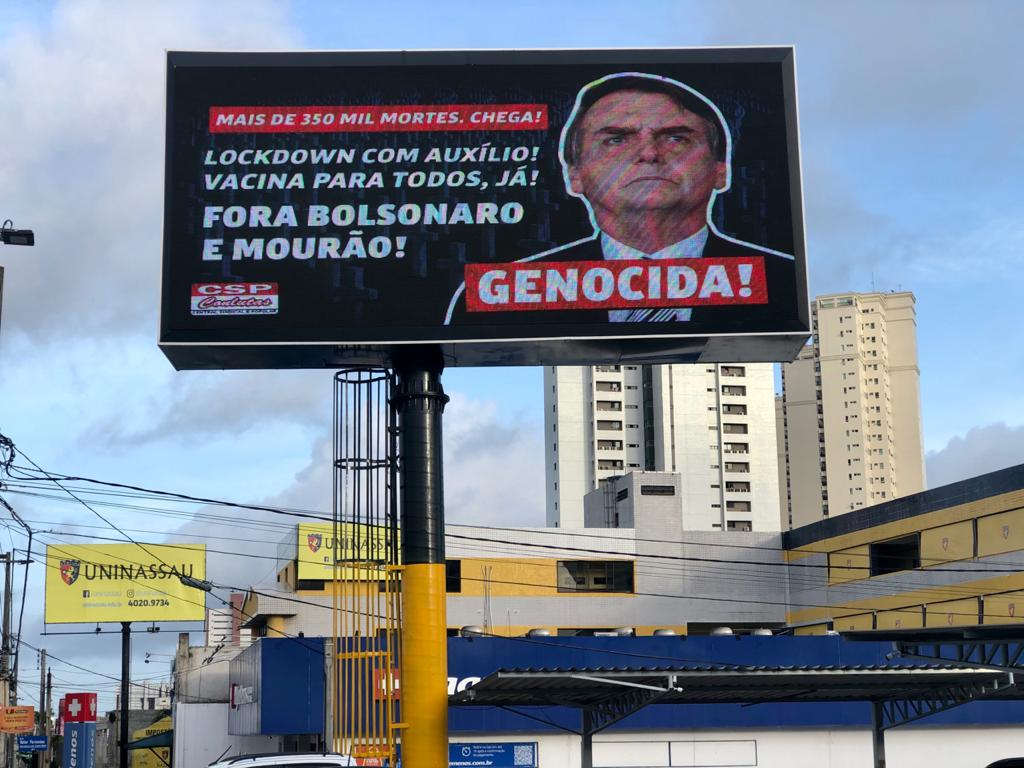 Outdoor da CSP-Conlutas no RN critica inoperância do governo Bolsonaro na pandemia
