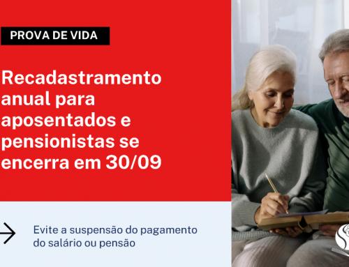 Recadastramento anual para aposentados e pensionistas se encerra em 30/09